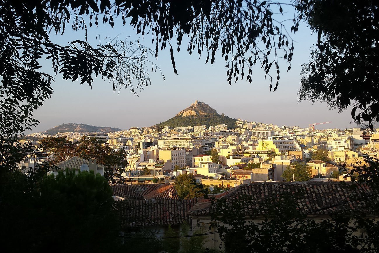 Athens-Lycabettus-hill-from-Anafiotika