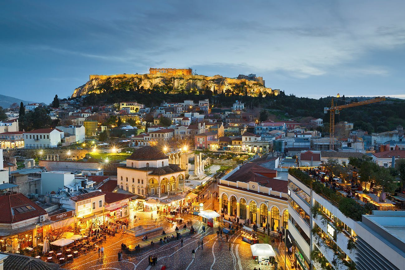 Athens. The Acropolis and Monastiraki by night.