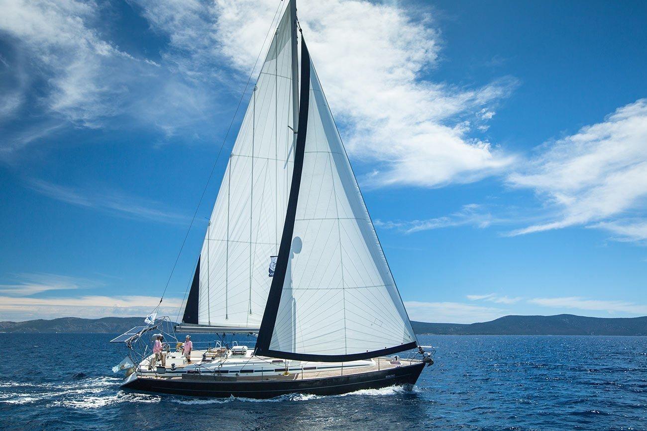Ermioni. Sailboat participating in International Regatta.