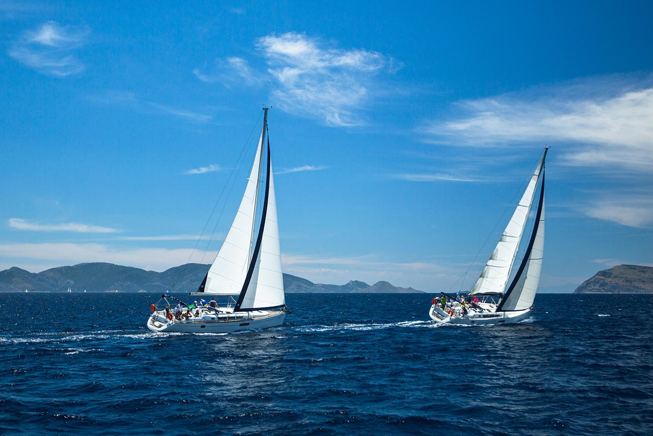 Methana. Sailing boats in Saronic Gulf Rally.