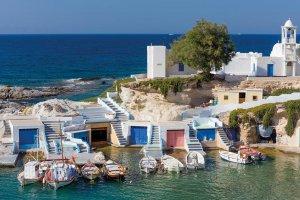 Milos. Boat houses.