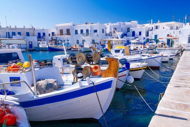 Paros. Naoussa. Fishing boats port.