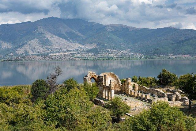 Small Prespa lake. Agios Achillios.