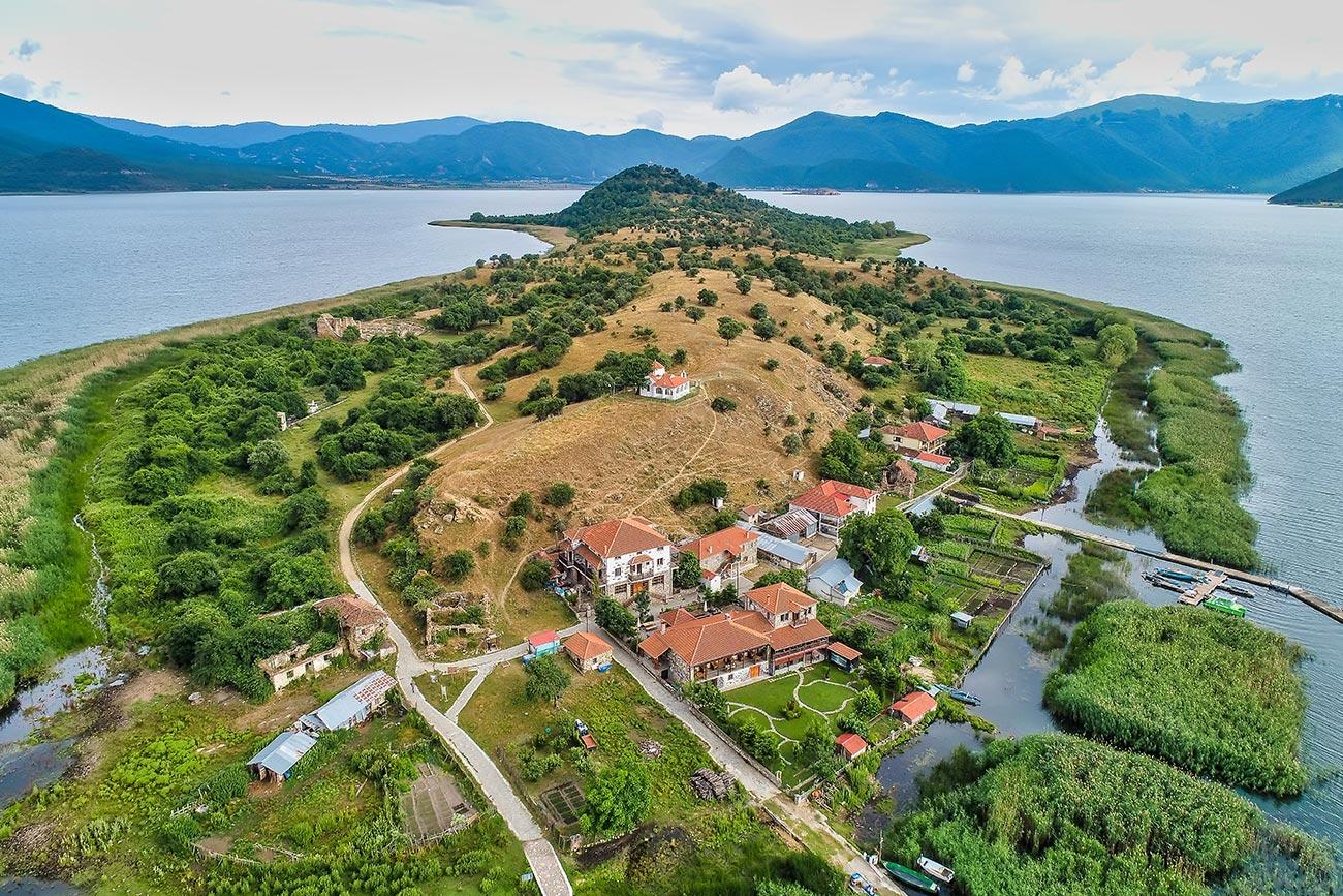 Small Prespa lake. Agios Achillios air view.