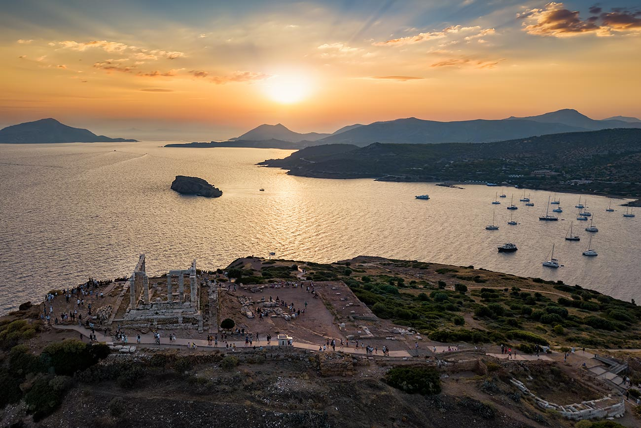 Sounion. Air view of the Temple of Poseidon.
