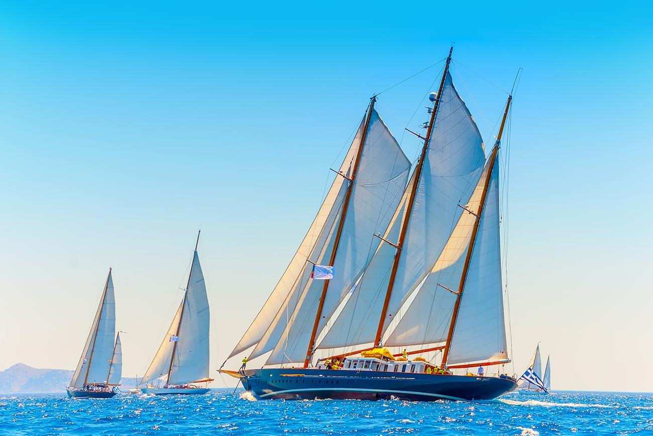Spetses. Sailboat participating in International Regatta.