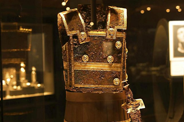 Vergina museum. The battle chest of Philipos II King of the Kingdom of Macedonia 359 BC.