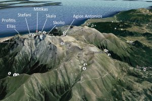 The peaks of Mt Olympus, rendered in Google Earth looking from the west.