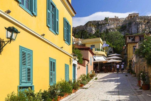 Athens.Acropolis view from Plaka